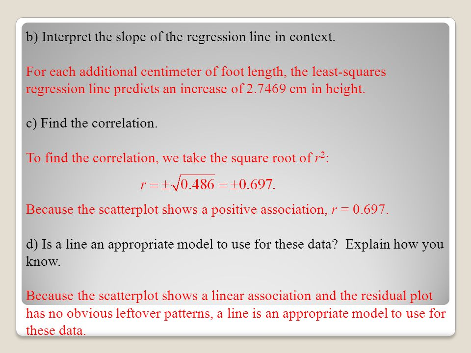 b) Interpret the slope of the regression line in context