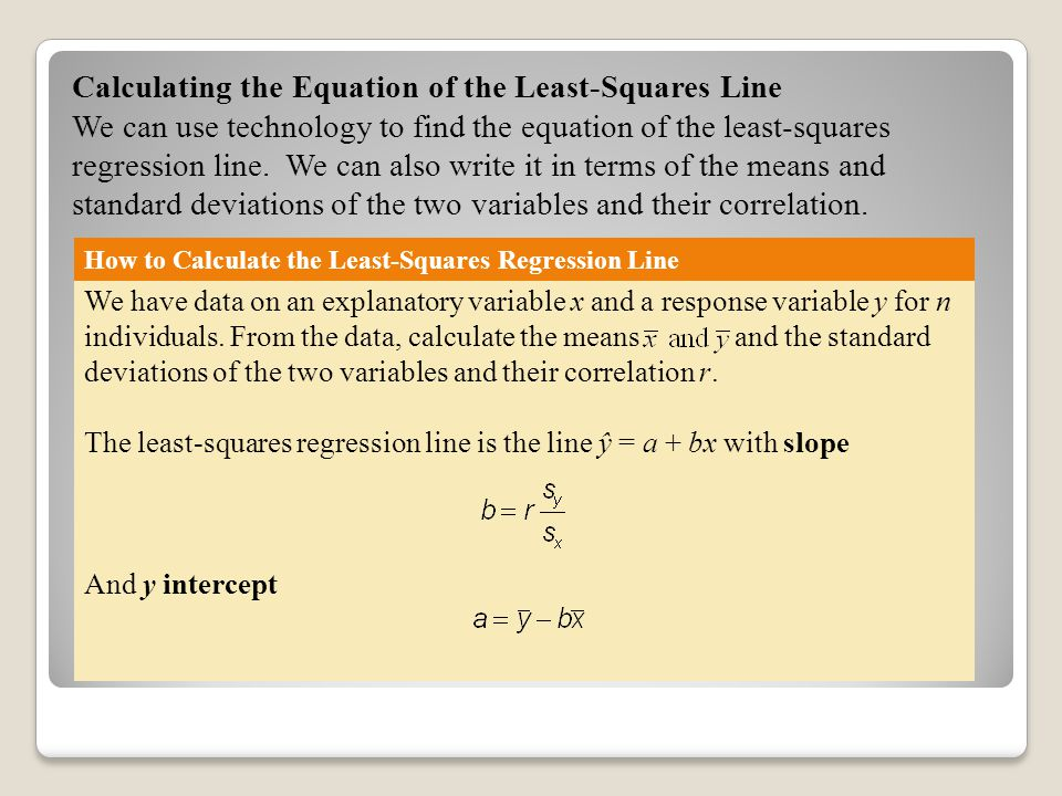 Calculating the Equation of the Least-Squares Line