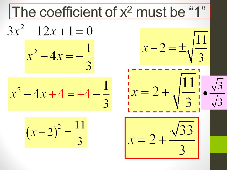 The coefficient of x2 must be 1