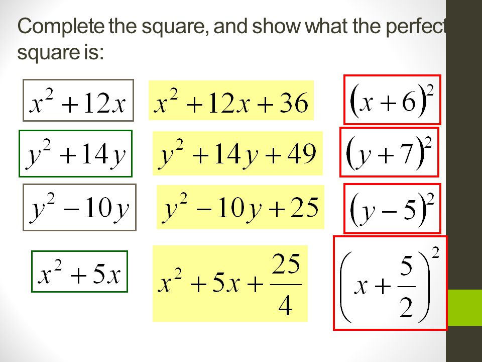 Complete the square, and show what the perfect square is:
