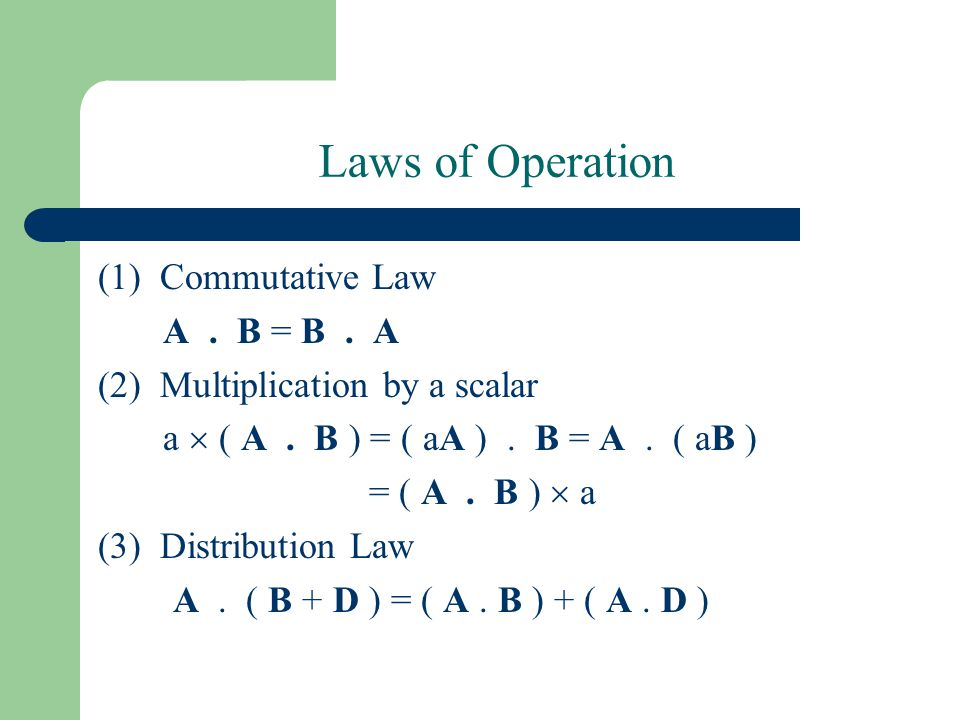 Laws of Operation (1) Commutative Law A . B = B . A