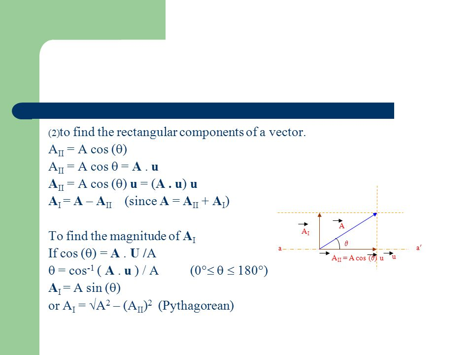 to find the rectangular components of a vector. AII = A cos ()