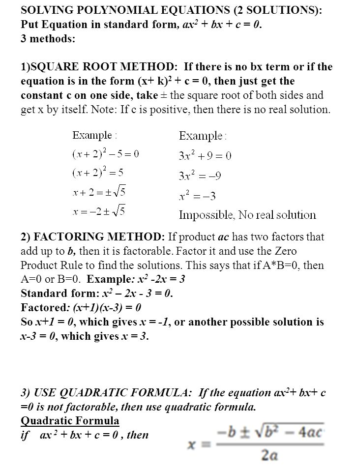 SOLVING POLYNOMIAL EQUATIONS (2 SOLUTIONS):