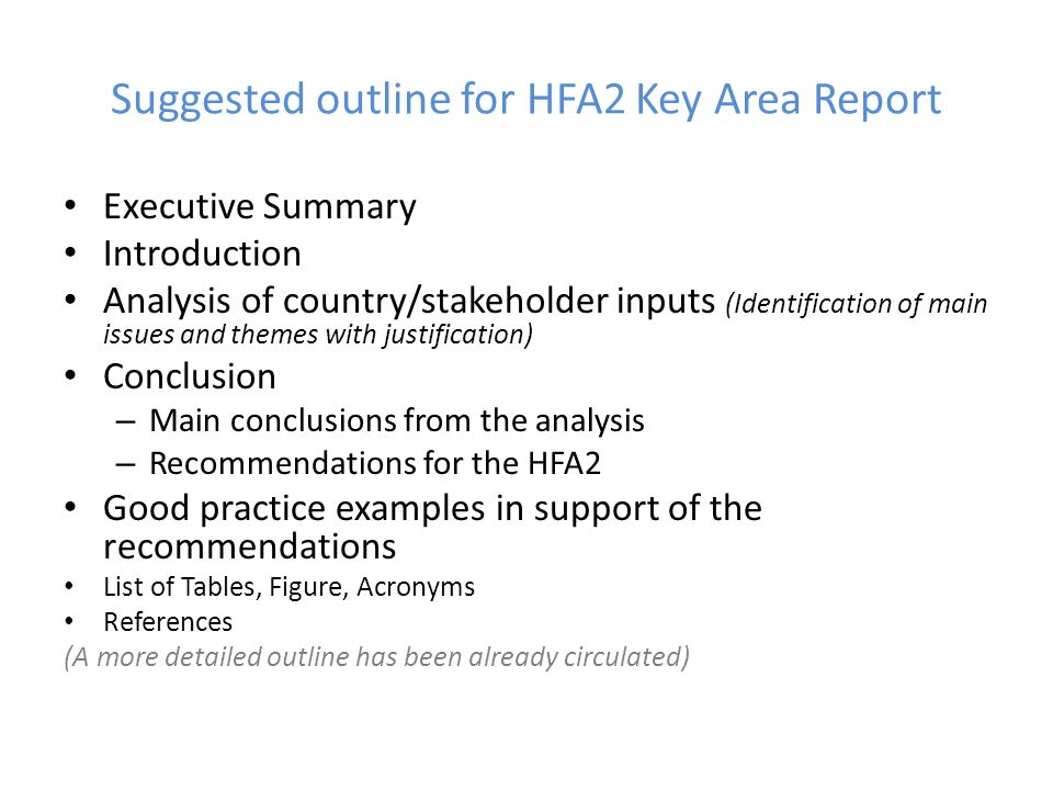 Suggested outline for HFA2 Key Area Report