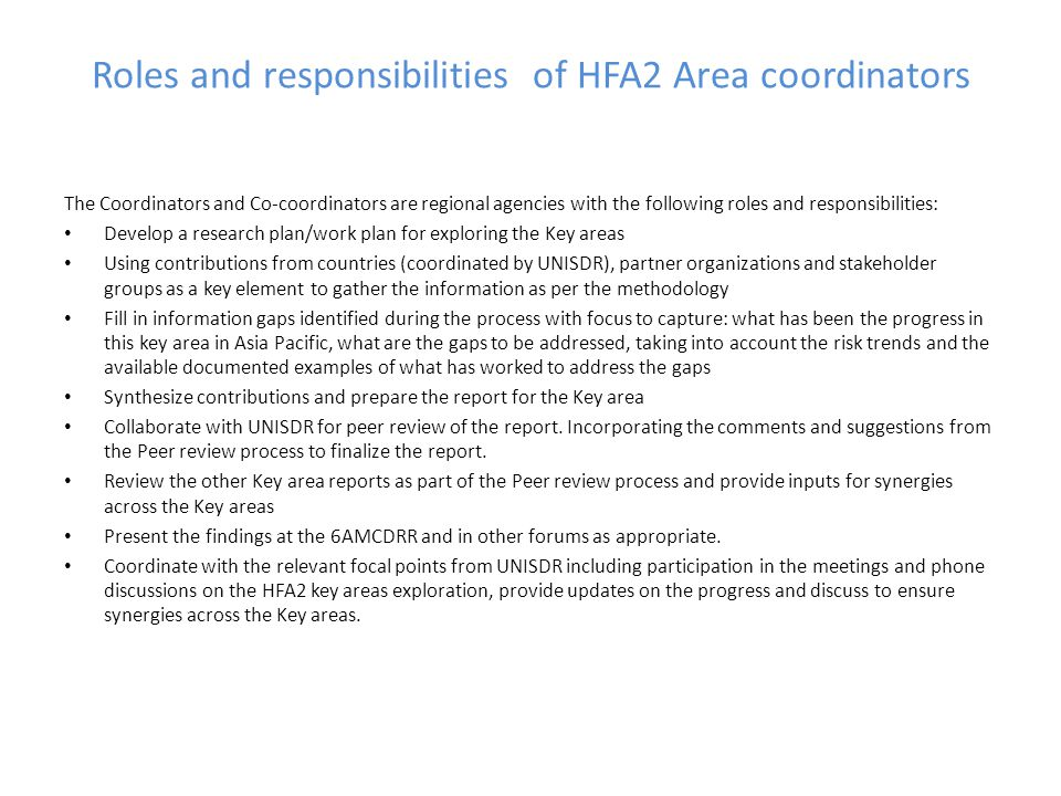 Roles and responsibilities of HFA2 Area coordinators