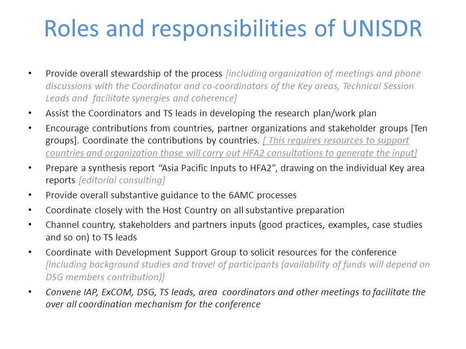 Roles and responsibilities of UNISDR