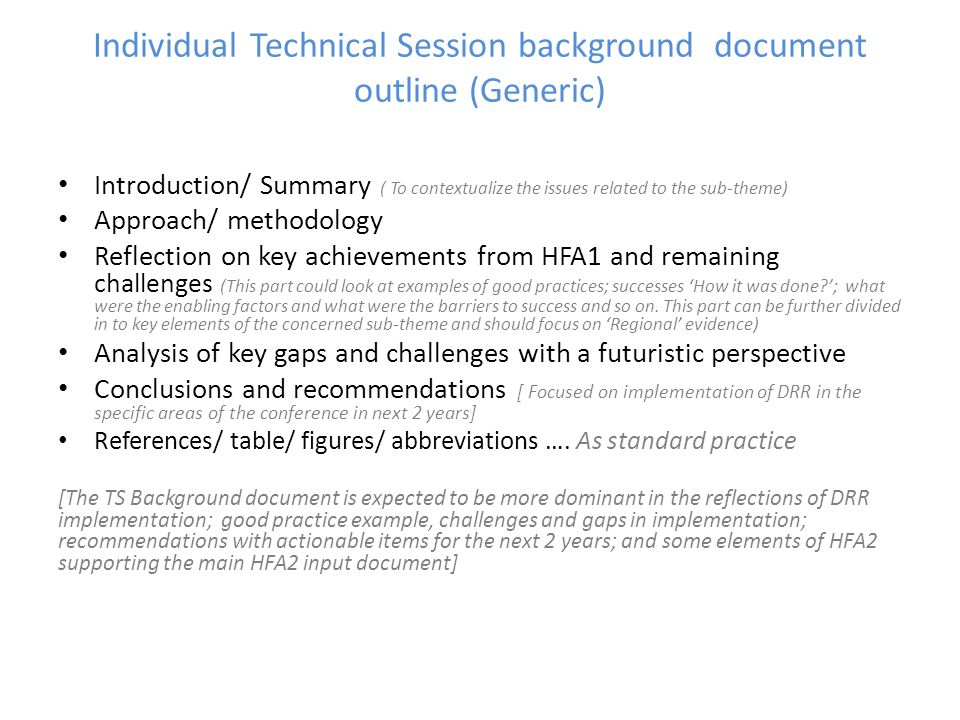 Individual Technical Session background document outline (Generic)