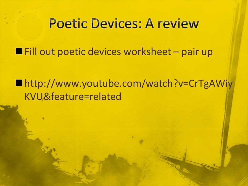 poetic device paper This video covers the poetic devices of: imagery, simile, metaphor, alliteration, assonance, consonance, personification, onomatopoeia, hyperbole.