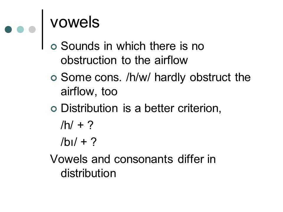 vowels Sounds in which there is no obstruction to the airflow