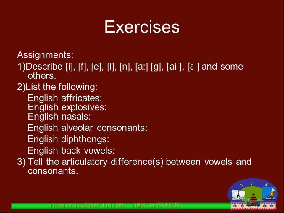 Exercises Assignments: