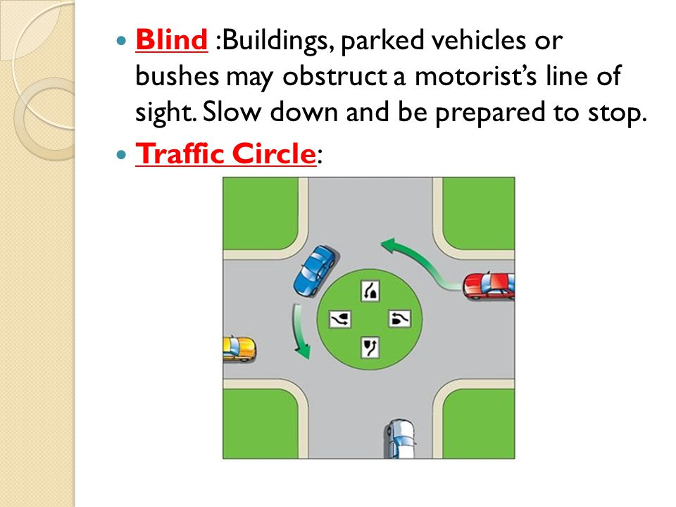 Blind :Buildings, parked vehicles or bushes may obstruct a motorist's line of sight. Slow down and be prepared to stop.