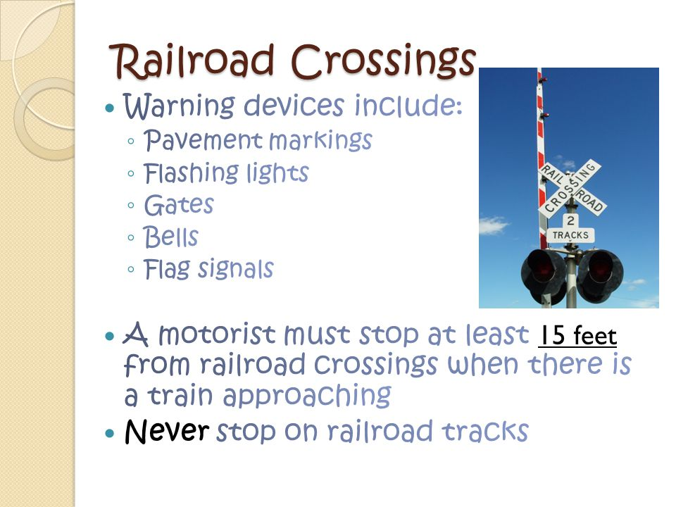 Railroad Crossings Warning devices include: