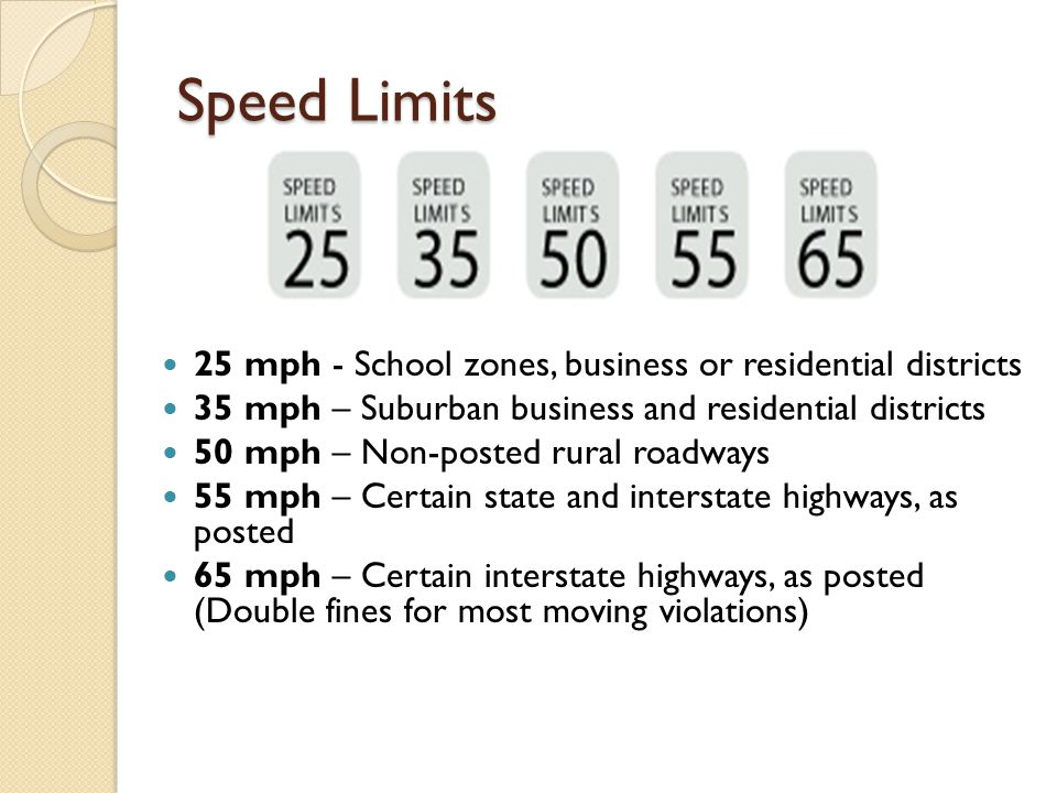 Speed Limits 25 mph - School zones, business or residential districts