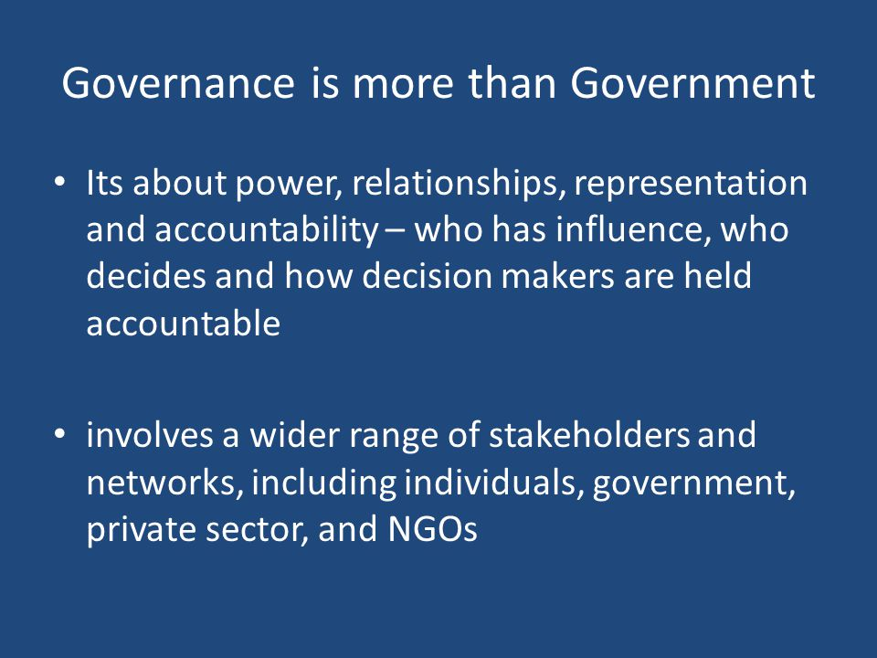 Governance is more than Government