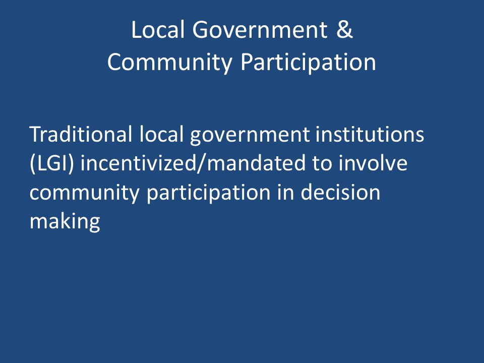 Local Government & Community Participation
