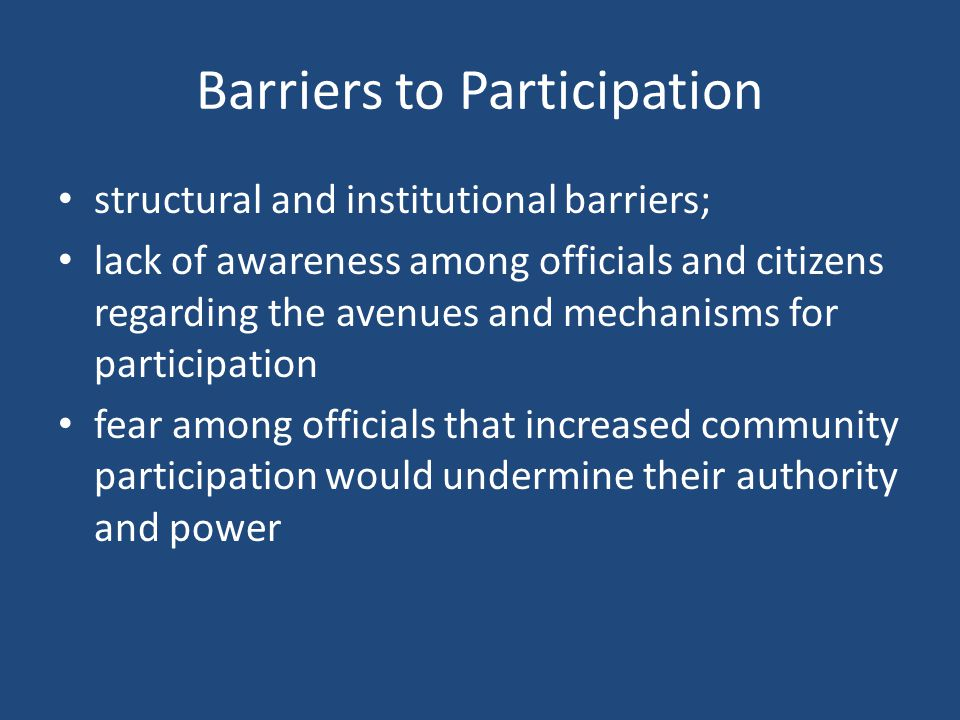 Barriers to Participation