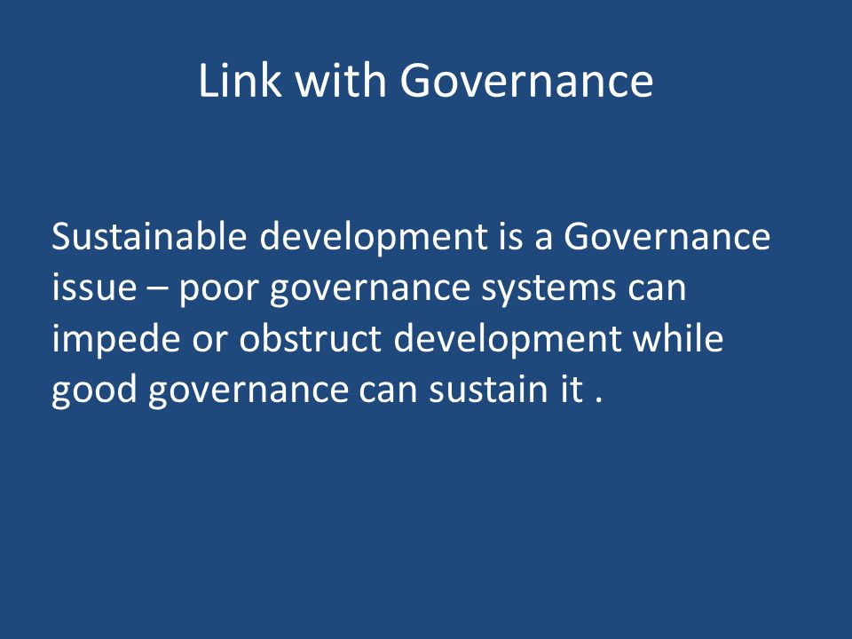 Link with Governance