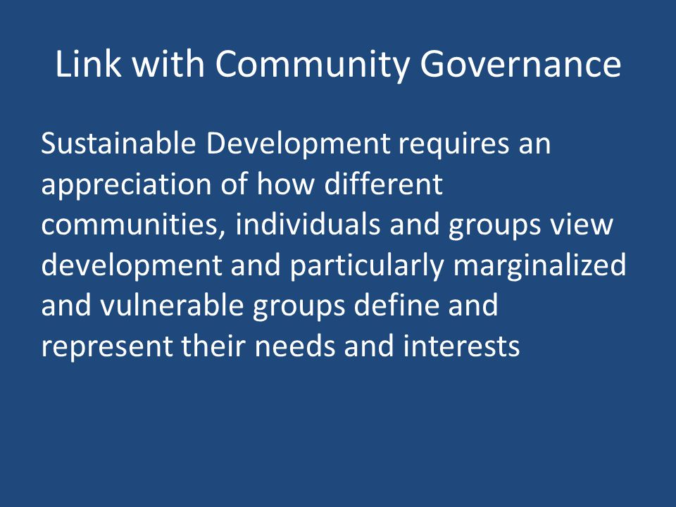 Link with Community Governance