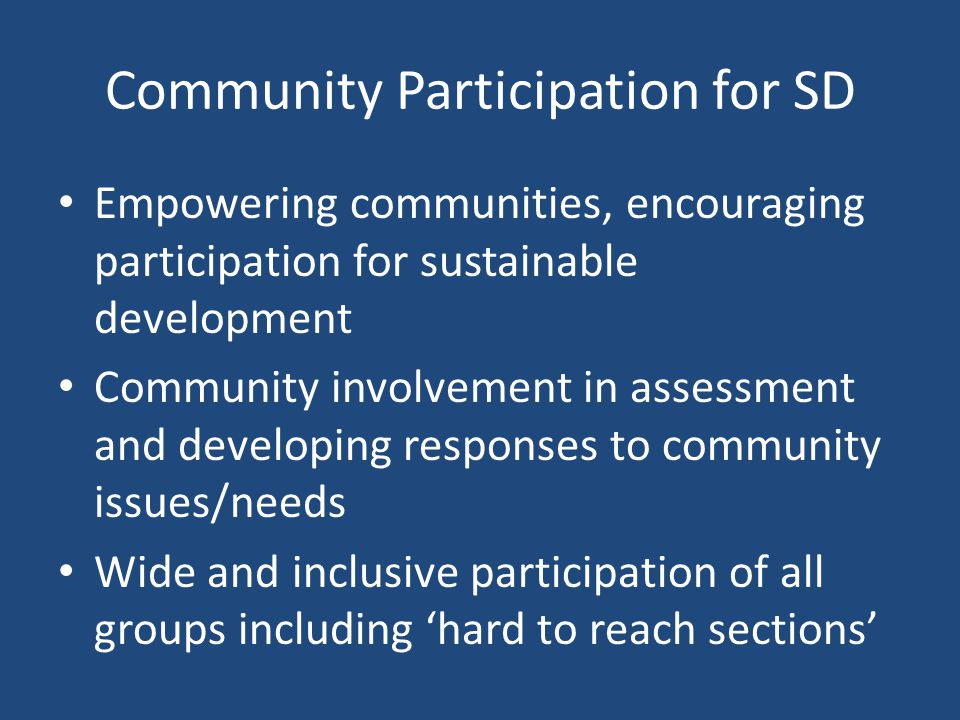Community Participation for SD
