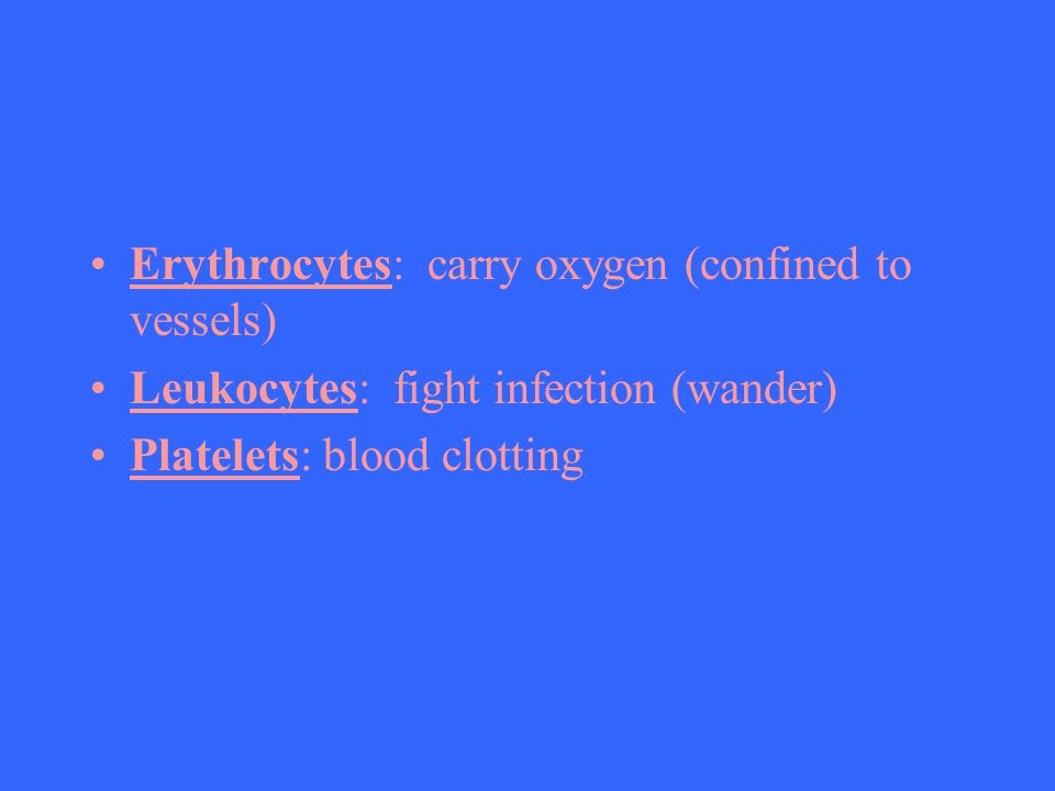 Erythrocytes: carry oxygen (confined to vessels)