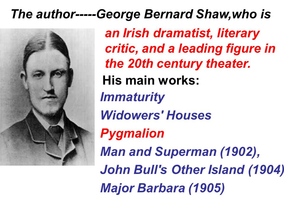 The author-----George Bernard Shaw,who is