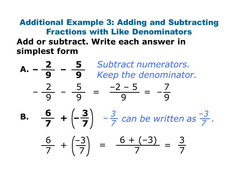 simplest form adding and subtracting fractions  Warm Up Simplify Write each decimal as a fraction in ...