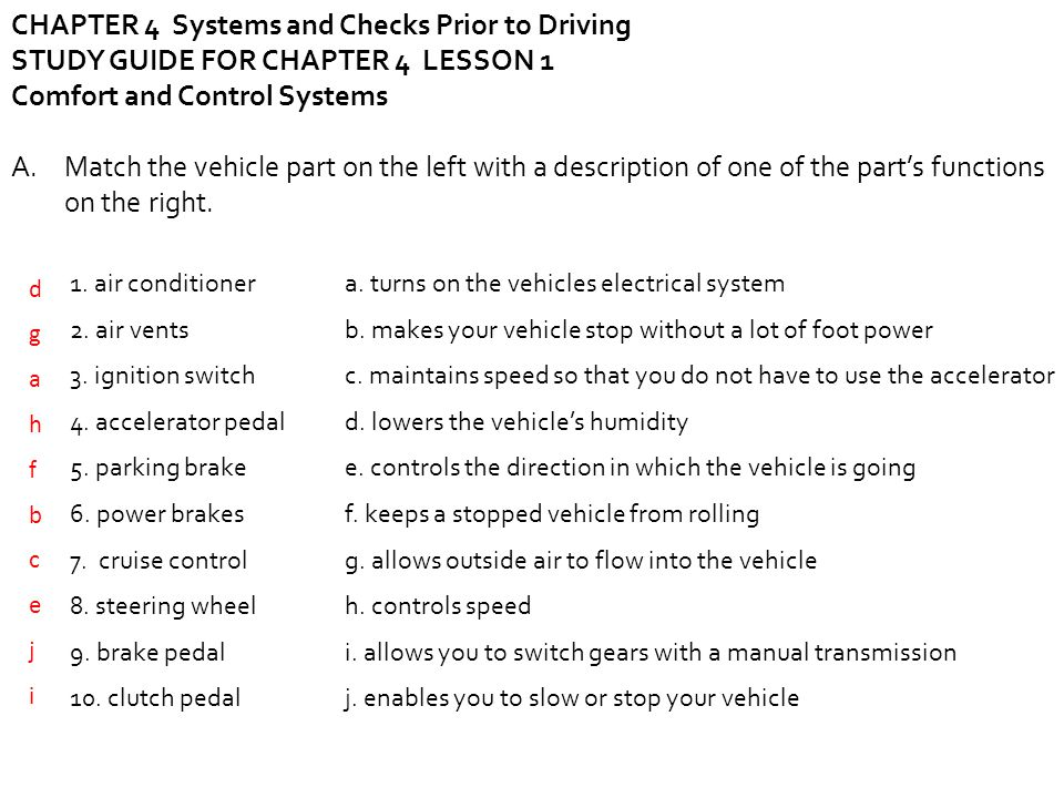 drivers ed chapter 10 study guide answers