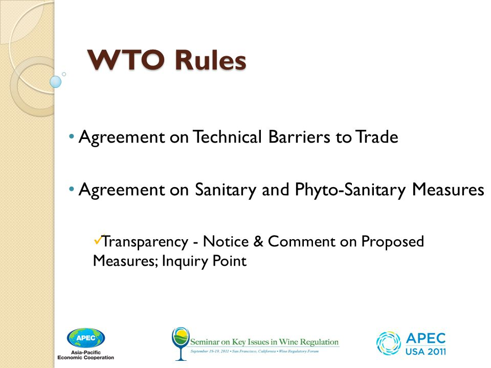 WTO Rules Agreement on Technical Barriers to Trade