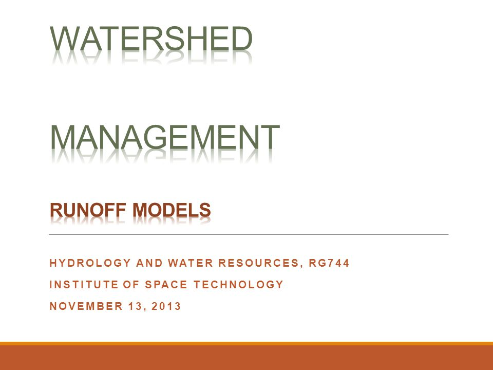 Watershed Management Runoff models