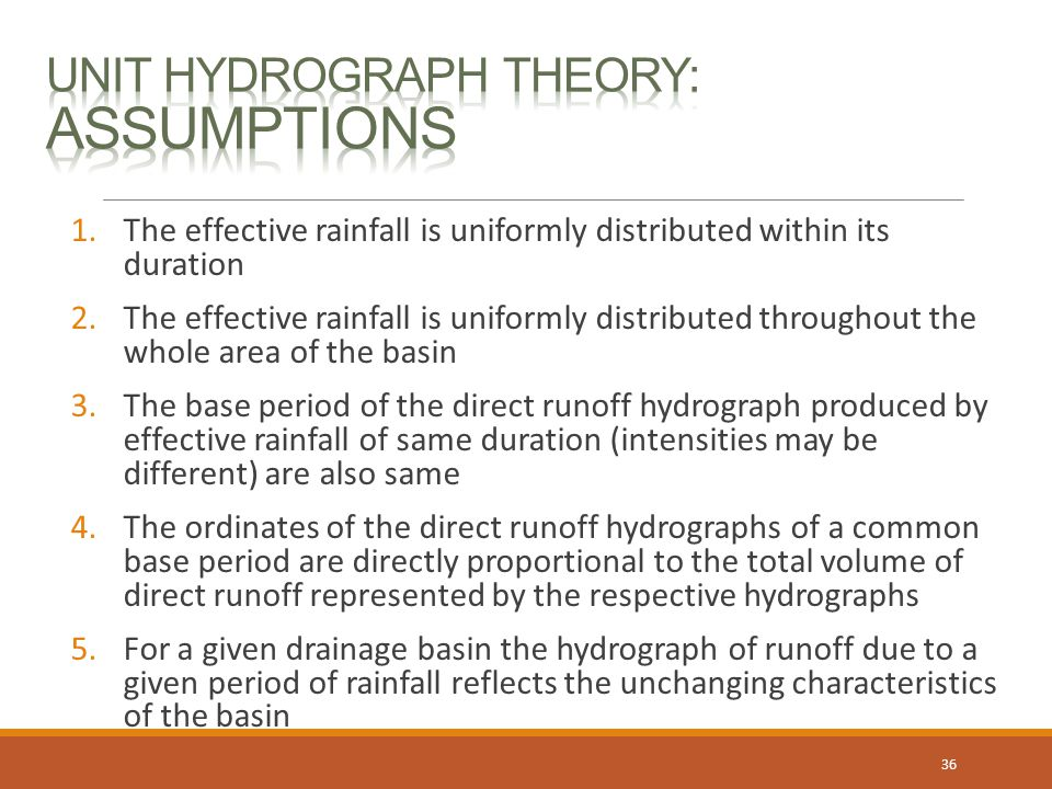 Unit Hydrograph Theory: Assumptions
