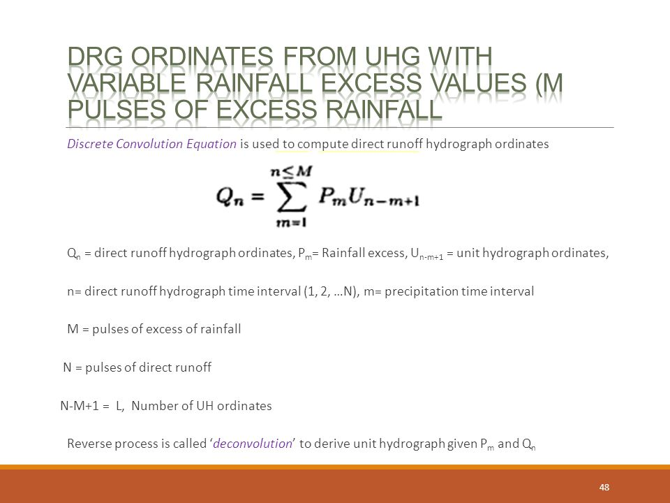Drg ordinates from uhg with Variable Rainfall excess values (M pulses of excess rainfall
