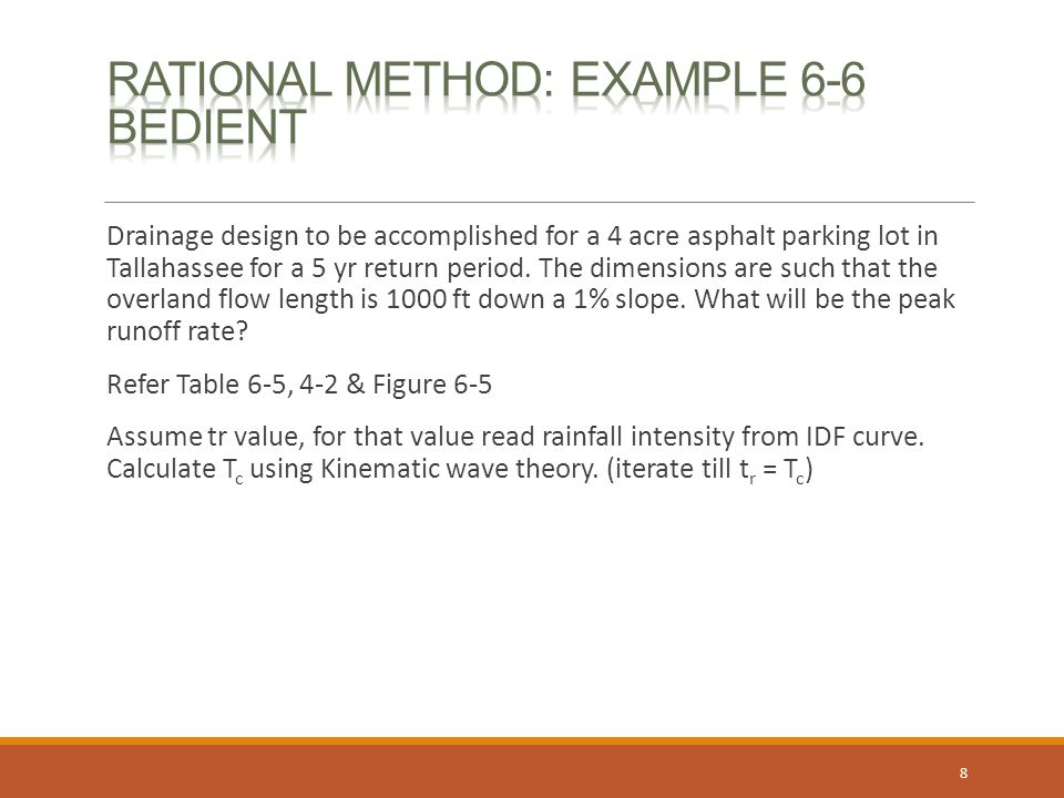 Rational Method: example 6-6 Bedient