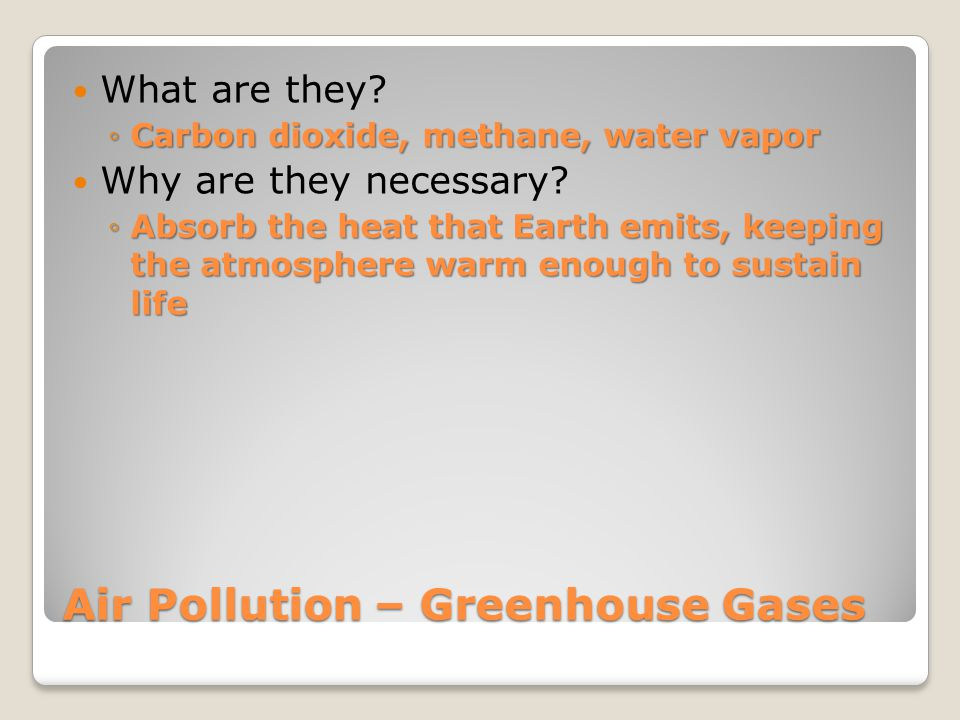 Air Pollution – Greenhouse Gases