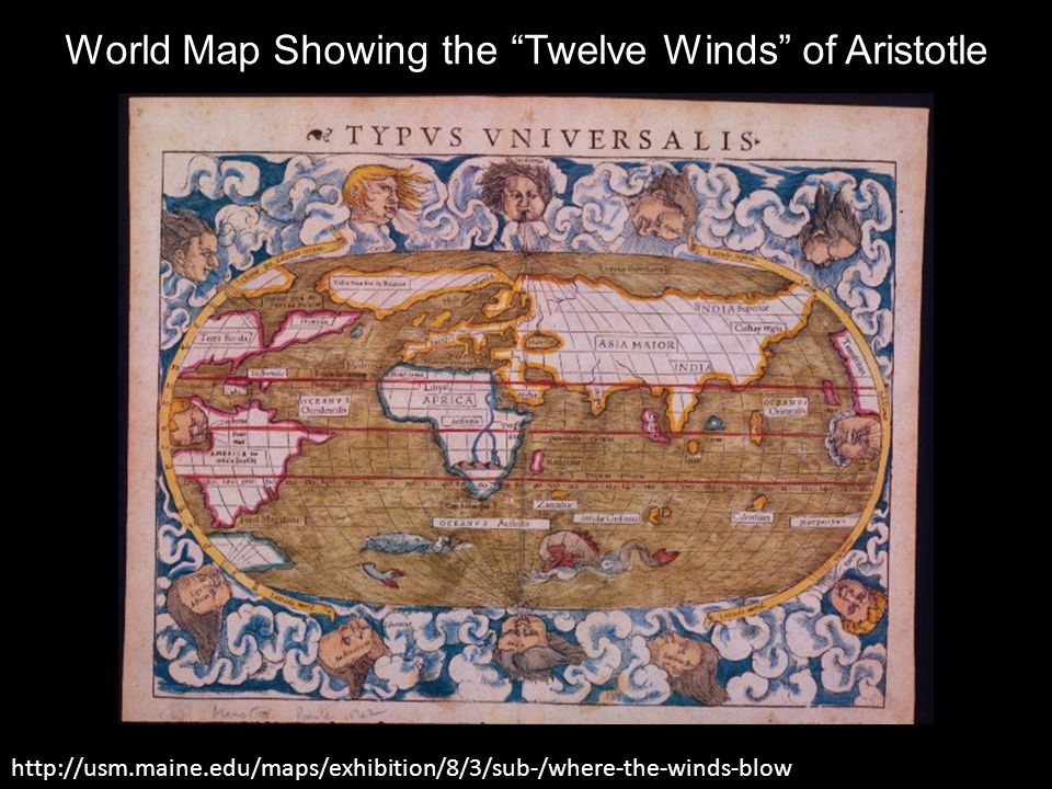 World Map Showing the Twelve Winds of Aristotle