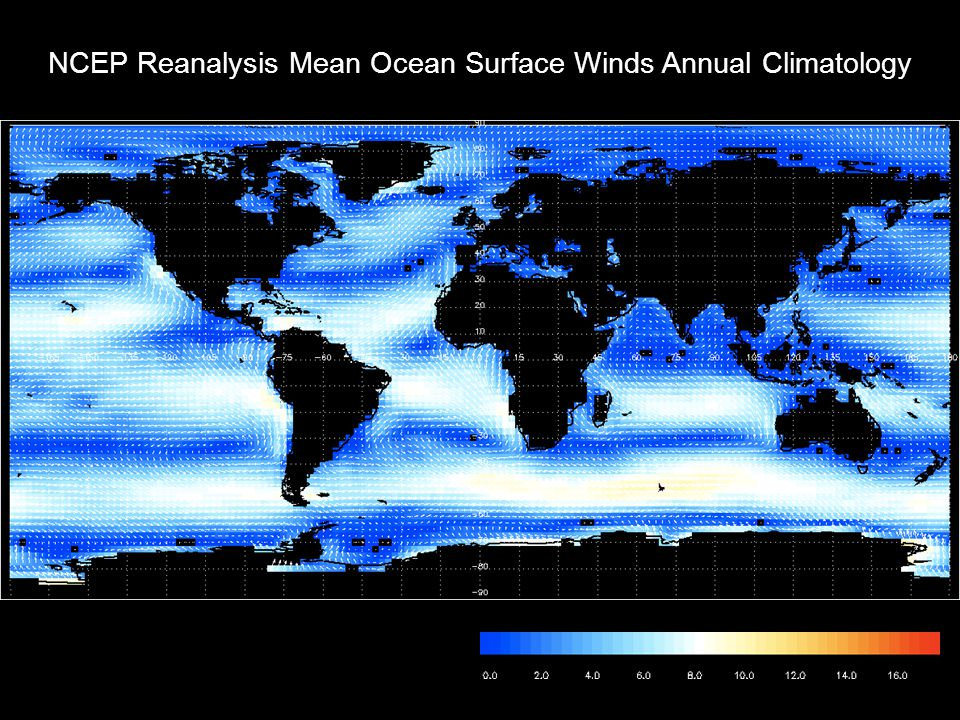 NCEP Reanalysis Mean Ocean Surface Winds Annual Climatology