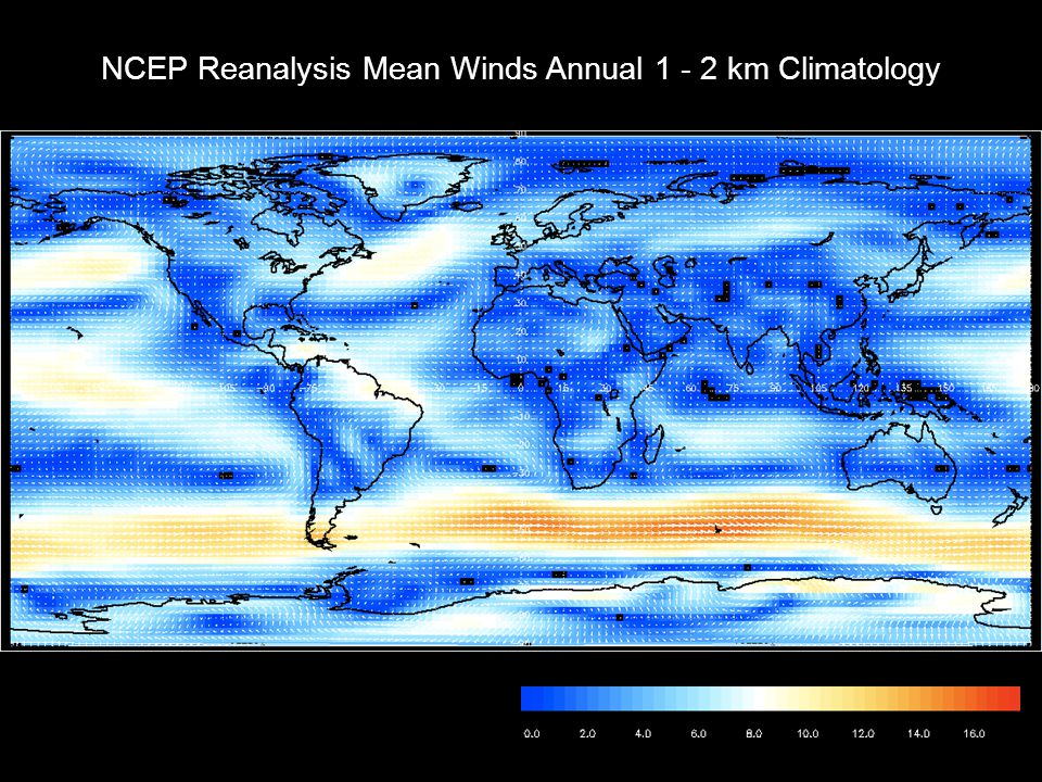 NCEP Reanalysis Mean Winds Annual km Climatology