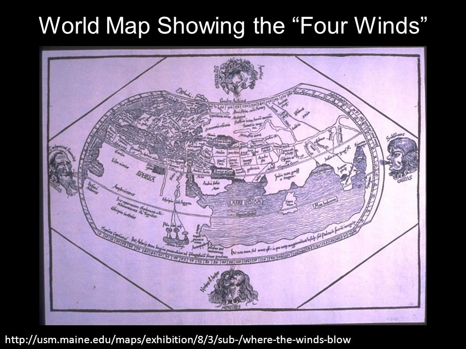 World Map Showing the Four Winds