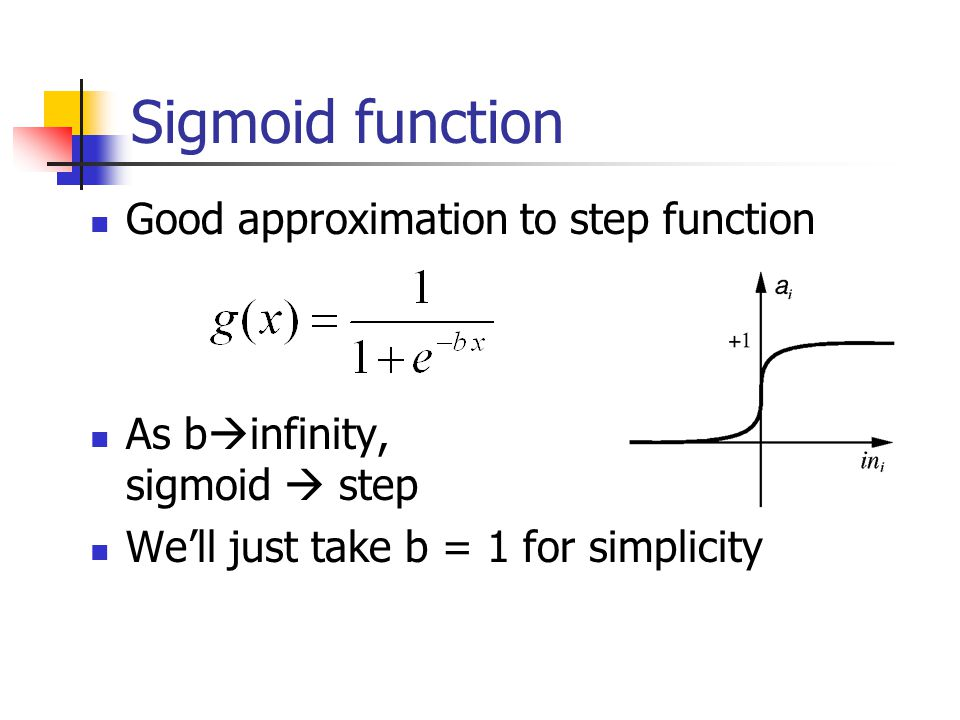 Sigmoid function Good approximation to step function
