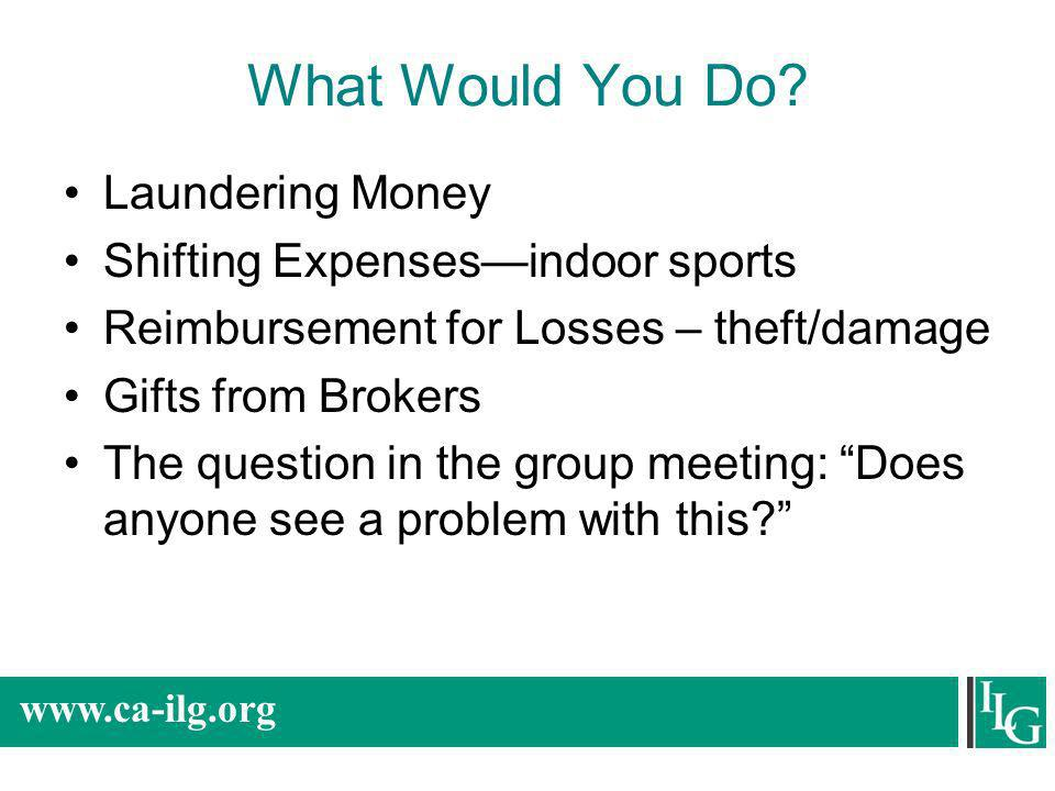 What Would You Do Laundering Money Shifting Expenses—indoor sports