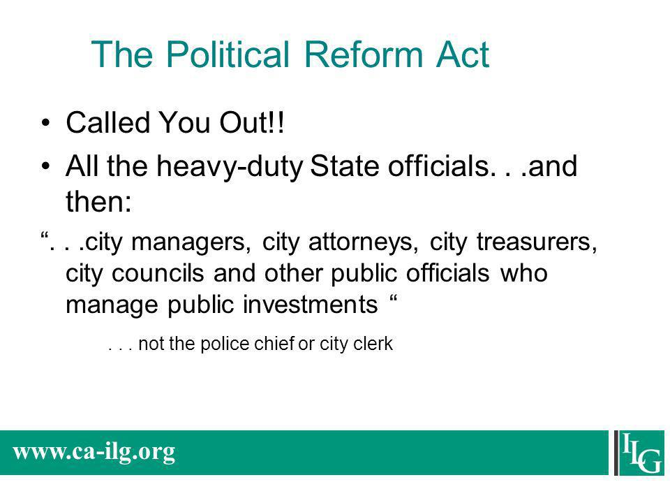 The Political Reform Act