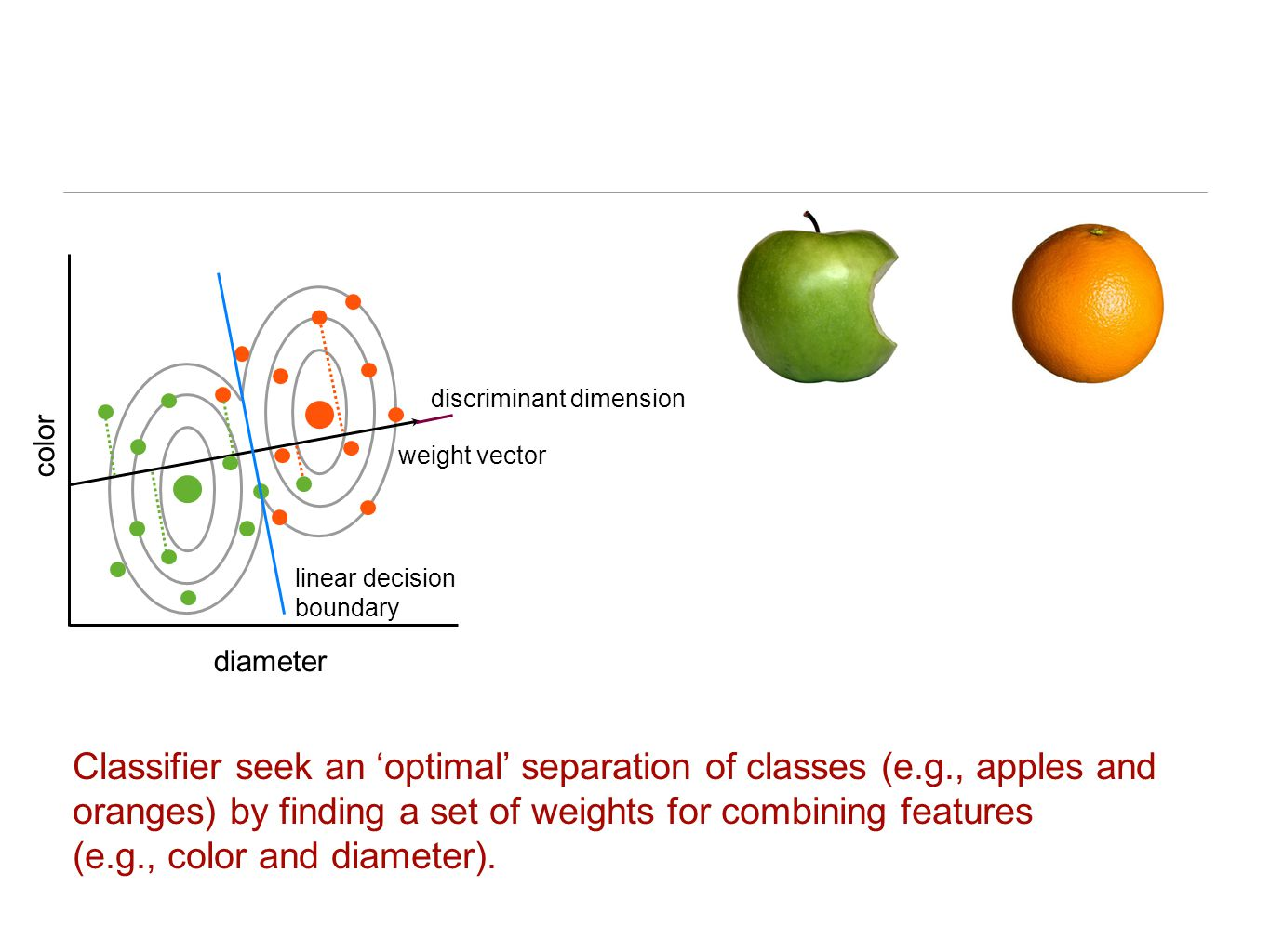 Classifier seek an 'optimal' separation of classes (e.g., apples and