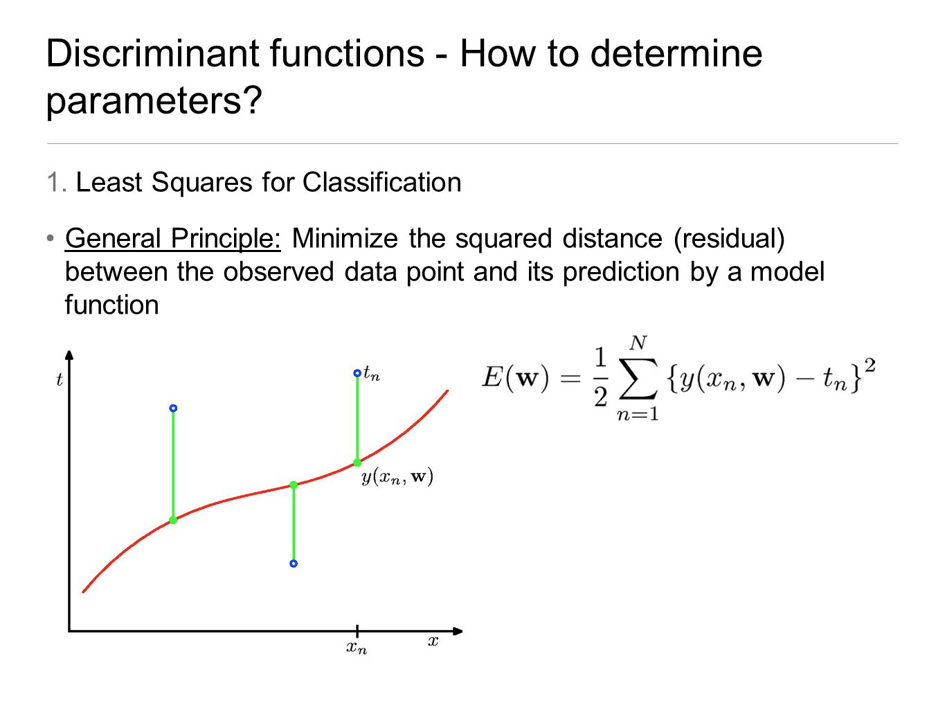 Discriminant functions - How to determine parameters