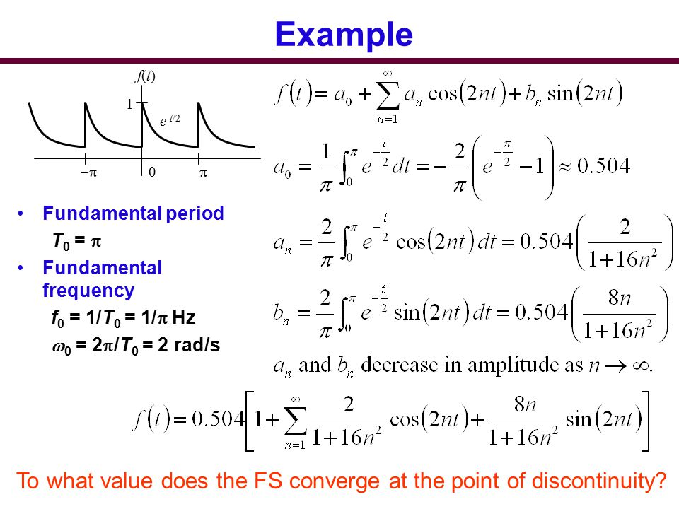 Example p. -p. 1. e-t/2. f(t) Fundamental period. T0 = p. Fundamental frequency. f0 = 1/T0 = 1/p Hz.