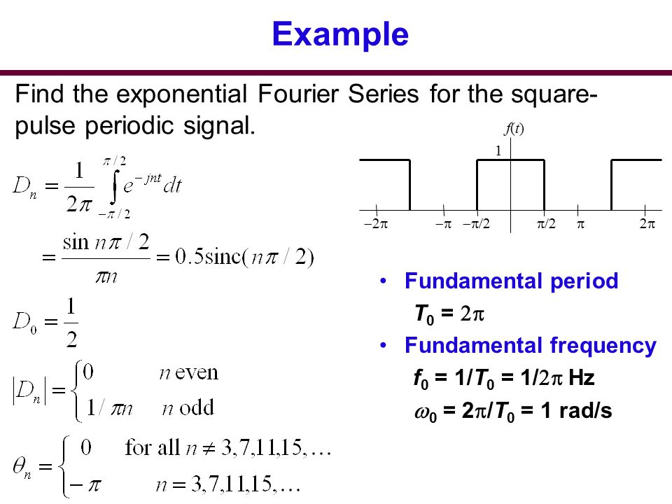 Example Find the exponential Fourier Series for the square-pulse periodic signal. p/2. -p/2. 1. f(t)