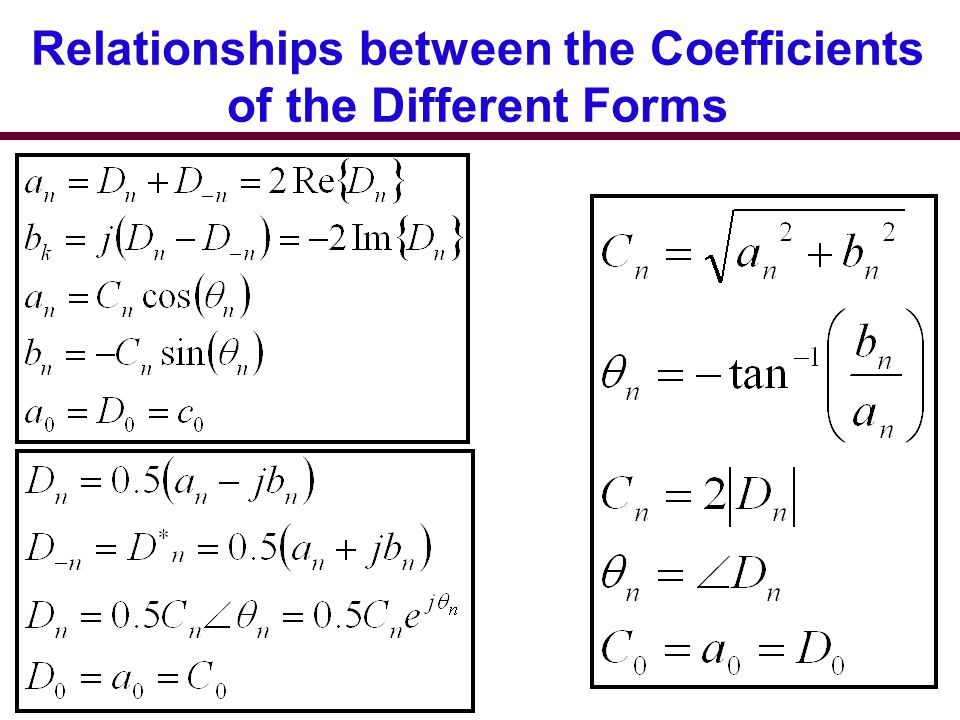 Relationships between the Coefficients of the Different Forms