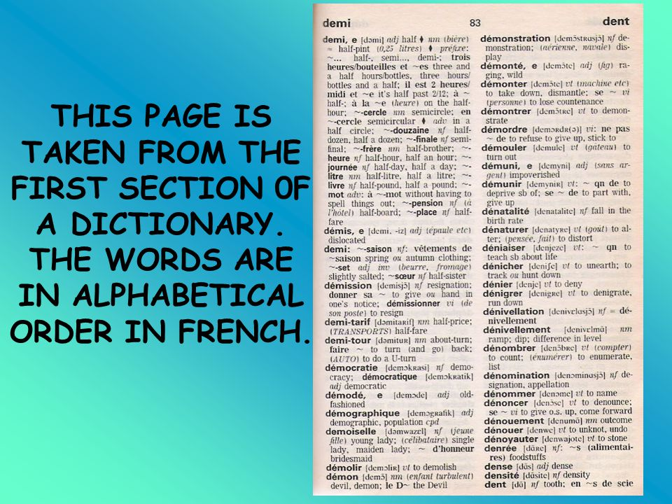 THIS PAGE IS TAKEN FROM THE FIRST SECTION 0F A DICTIONARY