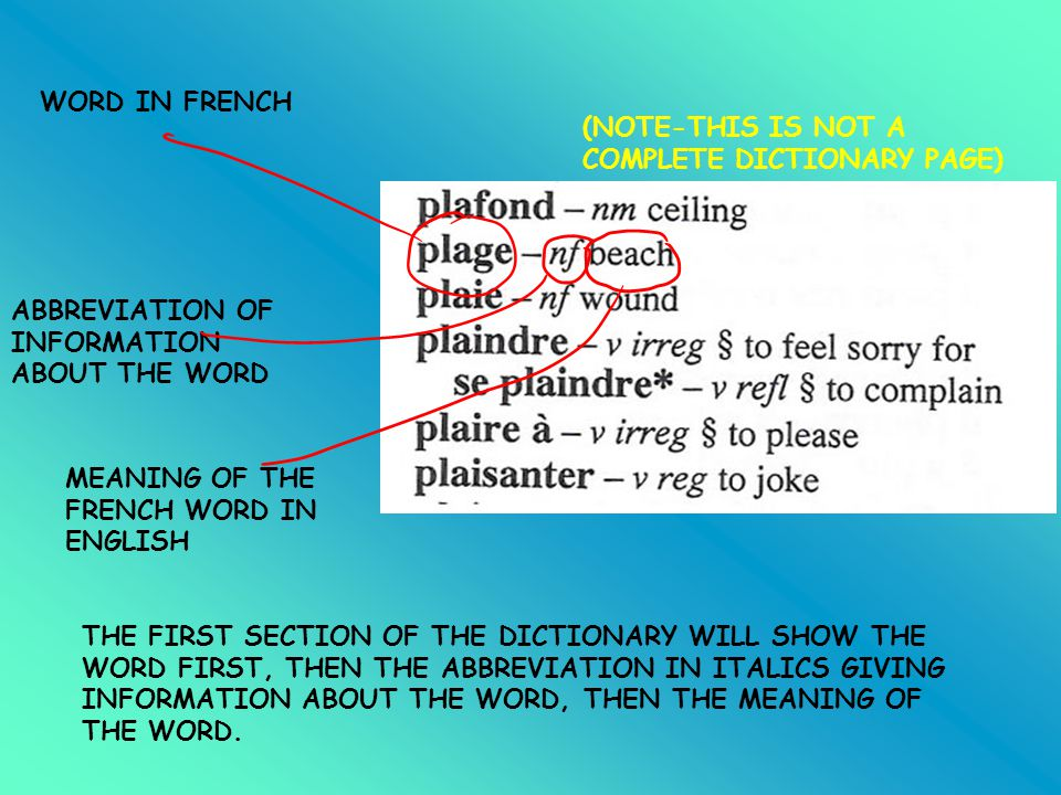 WORD IN FRENCH (NOTE-THIS IS NOT A COMPLETE DICTIONARY PAGE) ABBREVIATION OF INFORMATION ABOUT THE WORD.