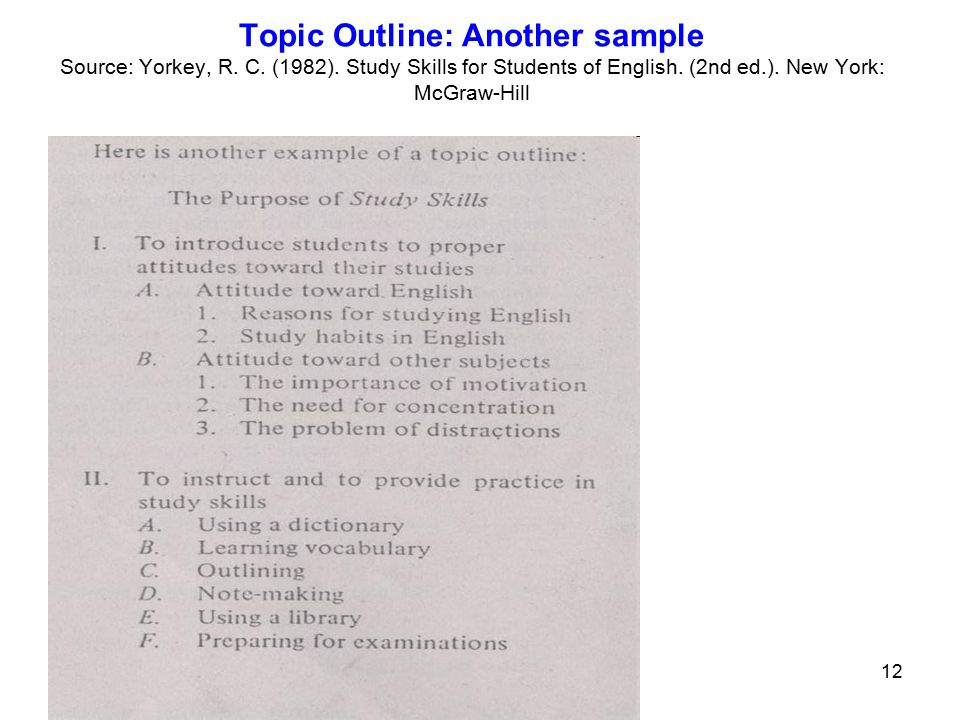 study outline example