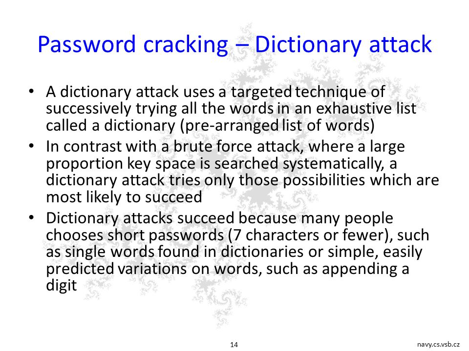 what is use of dictionary attack