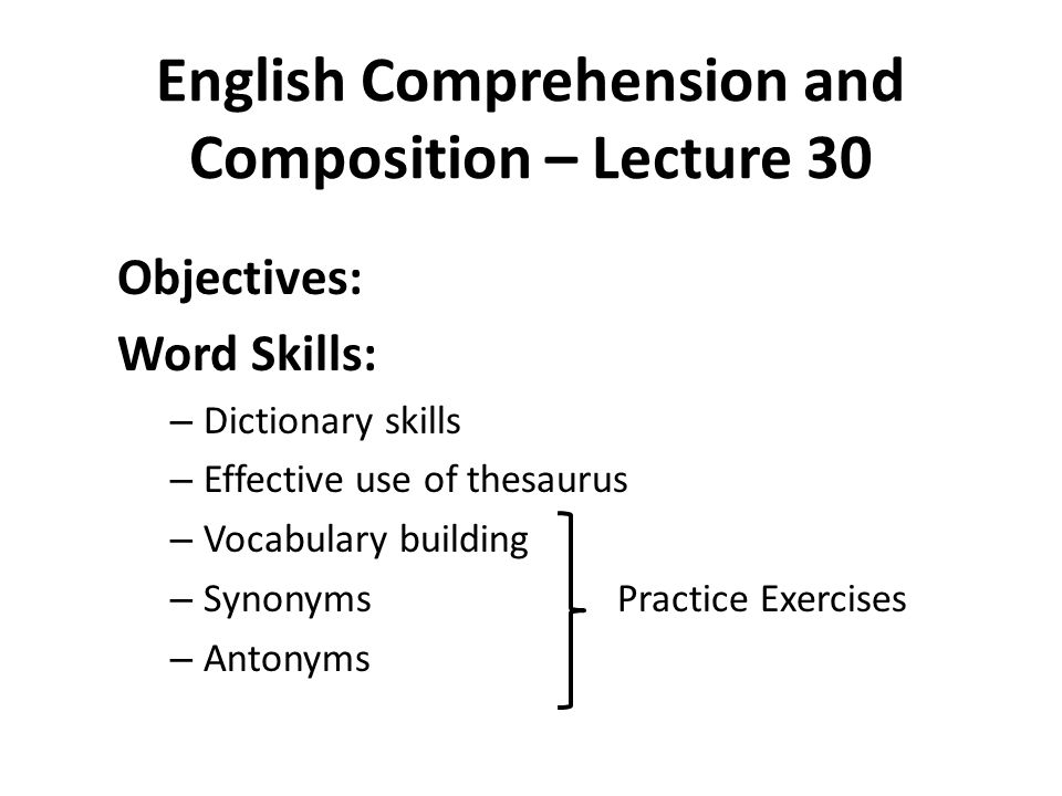 English Prehension And Position Lecture 30: Thesaurus Exercise Worksheets At Alzheimers-prions.com